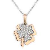 4-Leaf Clover Irish Luck Charm Diamond Pendant & Chain Necklace in 14k Rose & White Gold