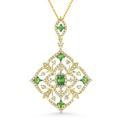 1.14ct Green Garnet & Round Cut Diamond Floral Pendant & Chain in 14k Yellow Gold - AM-DN5110