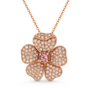 0.54ct Pink Tourmaline & Diamond Flower Charm Pendant & Chain in 14k Rose Gold - AM-DN5151