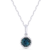0.58ct Round Cut London-Blue Topaz & Diamond Halo Pendant & Chain Necklace in 14k White Gold -  AM-N1008LBTW