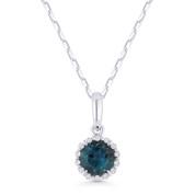 0.58ct Round Cut London-Blue Topaz & Diamond Halo Pendant & Chain Necklace in 14k White Gold -  AM-N1008LBTW