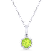 0.61ct Round Cut Peridot & Diamond Halo Pendant & Chain Necklace in 14k White Gold - AM-N1008PRW