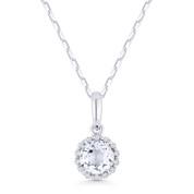 0.65ct Round Cut White Topaz & Diamond Halo Pendant & Chain Necklace in 14k White Gold - AM-N1008WTW
