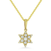 0.15ct Round Cut Diamond Star of David Pendant & Chain Necklace in 14k Yellow Gold - AM-DN5087