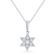 0.15ct Round Cut Diamond Star of David Pendant & Chain Necklace in 14k White Gold - AM-DN5087W