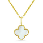 0.61ct White Mother-of-Pearl 4-Petal Flower Charm Pendant & Chain Necklace in 14k Yellow Gold - AM-N1005MOPY