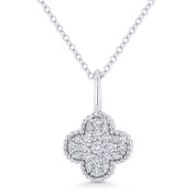 0.17ct Round Cut Diamond 4-Petal Flower Charm Pendant & Chain Necklace in 14k White Gold - AM-N1001W