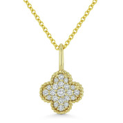 0.17ct Round Cut Diamond 4-Petal Flower Charm Pendant & Chain Necklace in 14k Yellow Gold - AM-N1001Y