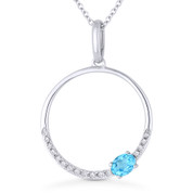 0.29ct Oval Cut Blue Topaz & Diamond Open Circle Pendant & Chain Necklace in 14k White Gold - AM-DN5390