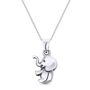 3D Baby Elephant Animal Charm Pendant & Cable Link Chain Necklace in Oxidized .925 Sterling Silver - ST-FP008-SLO