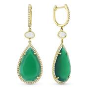 10.99ct Green Agate, White Topaz, & Round Cut Diamond Dangling Earrings in 14k Yellow Gold - AM-DE10545