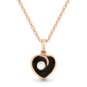 0.06ct Round Cut Diamond & Enamel Heart Charm Pendant & Chain Necklace in 14k Rose Gold