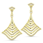 0.33ct Round Cut Diamond Dangling Statement Earrings in 14k Yellow Gold - AM-DE9135