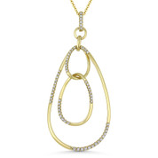 0.29ct Round Cut Diamond Oval Stack Pendant & Chain Necklace in 14k Yellow Gold - AM-DN4892