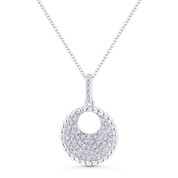 0.20 ct Round Cut Diamond Pave Circle Pendant & Chain Necklace in 14k White Gold - AM-DN5077