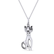 Cat Animal Charm Pendant & Cable Chain Necklace in Oxidized .925 Sterling Silver - ST-FP014-SLO