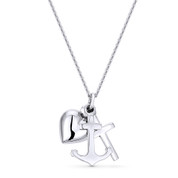 Anchor, Cross, & Heart Charm Pendant & Cable Chain Necklace in .925 Sterling Silver - ST-FP015-SLP