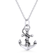 Antique-Finish Sailor's Luck Charm Anchor Pendant & Cable Chain Necklace in Oxidized .925 Sterling Silver - ST-FP017-SLO