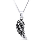 Antique-Finish Angel's Wing Charm Pendant & Cable Chain Necklace in Oxidized .925 Sterling Silver - ST-FP018-SLO