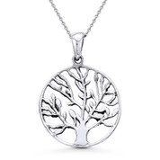 Antique-Finish Tree-of-Life Charm Pendant & Cable Chain Necklace in Oxidized .925 Sterling Silver - ST-FP021-SLO