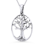 Antique-Finish Tree-of-Life Charm Pendant & Cable Chain Necklace in Oxidized .925 Sterling Silver - ST-FP022-SLO
