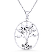 Antique-Finish Tree-of-Life & Trinity Charm Pendant & Necklace in Oxidized .925 Sterling Silver - ST-FP025-SLO