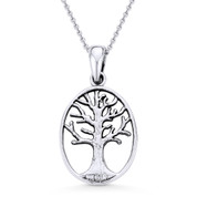 Antique-Finish Tree-of-Life Charm Pendant & Chain Necklace in Oxidized .925 Sterling Silver - ST-FP028-SLO