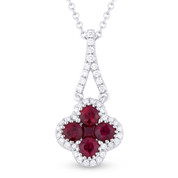 0.69ct Round & Princess Cut Ruby & Diamond Pave Flower Charm Pendant & Chain Necklace in 14k White Gold