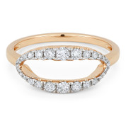 0.35ct Round Cut Diamond Open-Oval & Ball-Bead Band Right-Hand Ring in 14k Rose & White Gold - AM-R1129P
