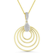 0.09ct Round Cut Diamond Multi-Circle Pendant & Chain Necklace in 14k Yellow & White Gold - AM-DN4911