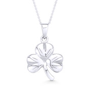3-Leaf Shamrock Irish Luck Charm Pendant & Cable Chain Necklace in .925 Sterling Silver - ST-FP041-SLP