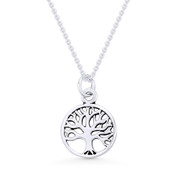 Tree-of-Life Charm Circle Pendant & Chain Necklace in .925 Sterling Silver - ST-FP051-SLP