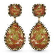 Jasper, Brown Diamond, & White Diamond Dangling Earrings in 14k Rose & Black Gold - AM-DE11011