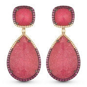 Pink Tourmaline, Pink Sapphire, & Diamond Dangling Earrings in 14k Rose & Black Gold - AM-DE11012