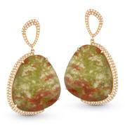 Jasper & Diamond Dangling Earrings in 14k Rose Gold - AM-DE10998