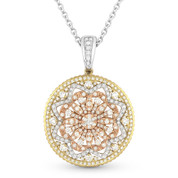 Round Cut Diamond Fashion Pendant in 14k Yellow, White, & Rose Gold w/ 14k White Chain - AM-DN4604