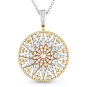 Round Cut Diamond Sun Charm Pendant in 14k Yellow, White, & Rose Gold w/ 14k White Chain - AM-DN4605