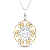 0.36ct Round Cut Diamond Vintage-Style Pendant & Chain in 14k Yellow & White Gold - AM-DN4599