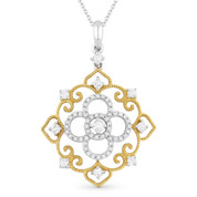 0.42ct Round Cut Diamond Vintage-Style Pendant & Chain in 14k Yellow & White Gold - AM-DN4601