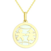 Boy & Girl Baby Mother of Pearl Child-Celebration Charm Pendant in 14k Yellow Gold