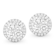 Round Brilliant Cut Diamond Pave Cluster & Halo Stud Earrings in 14k White Gold - AM-DE10601