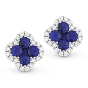0.61ct Round & Princess Cut Sapphire & Diamond Pave Flower Stud Earrings in 14k White Gold - AM-DE10495