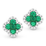 0.49 ct Round & Princess Cut Emerald & Diamond Pave Flower Stud Earrings in 14k White Gold - AM-DE10533
