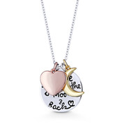 """""""I Love You To The Moon & Back"""" Circle, Heart, & Moon Pendant & Chain Necklace in .925 Sterling Silver - GN-FN003-SL"""