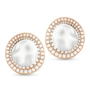 Round Cut Diamond Pave Hammered-Design Circle Stud Earrings in 14k Rose & White Gold - AM-DE10842