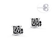"""""""Love"""" Word Script Charm Stud Earrings in Oxidized .925 Sterling Silver - ST-SE006-SL"""