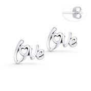 """""""Love"""" Word Script Charm Stud Earrings in Oxidized .925 Sterling Silver - ST-SE027-SL"""