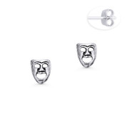 Actor's Happy Face Theater / Opera Mask Charm Stud Earrings in Oxidized .925 Sterling Silver - ST-SE029-SL