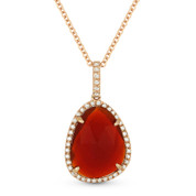 2.85ct Red Agate & Diamond Halo Pendant & Chain Necklace in 14k Rose Gold - AM-DN4384