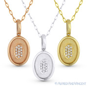 0.04ct Round Cut Diamond Oval Pendant & Chain Necklace in 14k Rose, White, or Yellow Gold - AM-DN3828-29-61